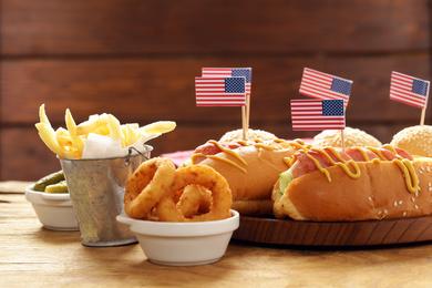 Une carte de plats américains typique
