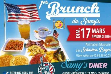 Brunch Du Samy's Diner Albi le Dimanche 17 mars 2019 a partir de 9h30 et jusqu'a 13h !